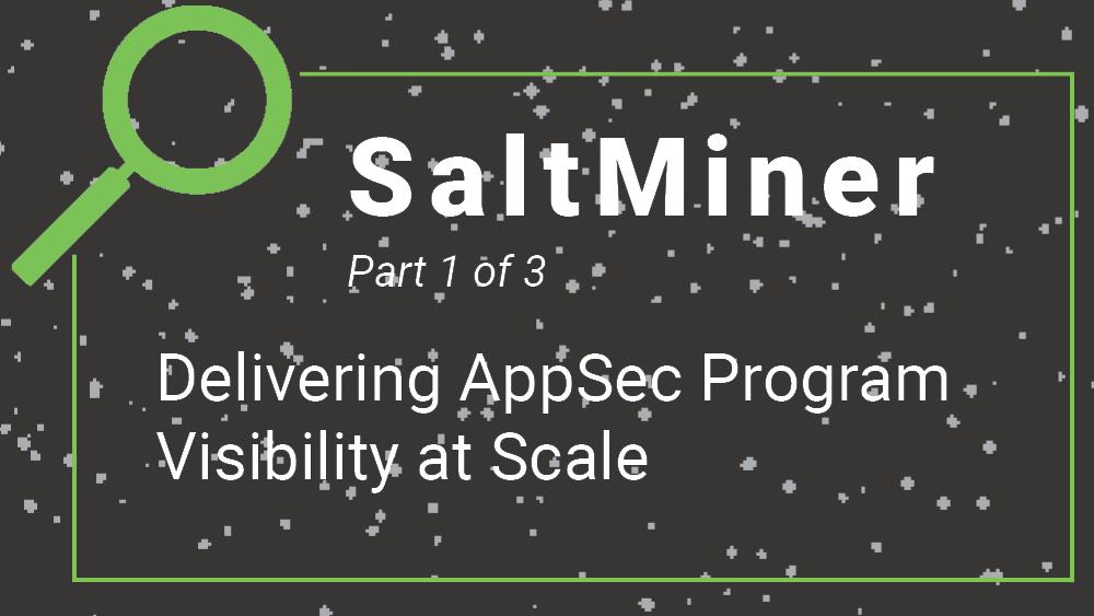 SaltMiner- Delivering AppSec Program Visibility at Scale